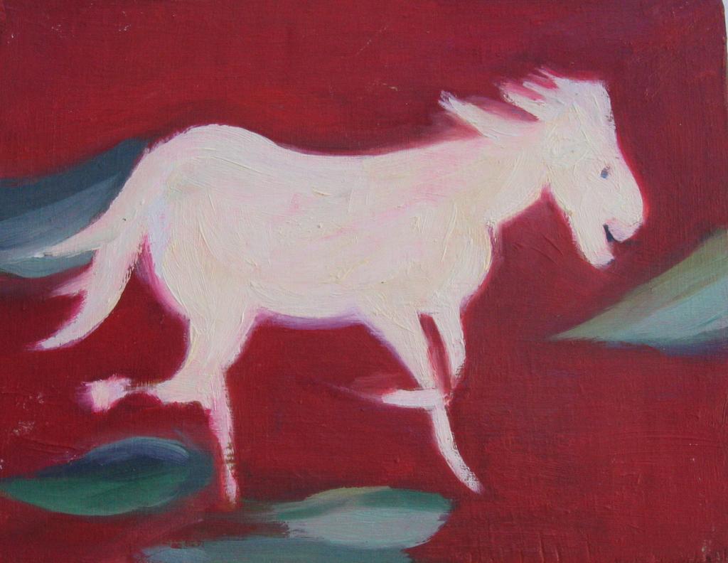 happy horse, oil on wood, 22x17 cm